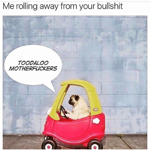 Memes, Bullshit, and 🤖: Me rolling away from your bullshit  TOODALOo  MOTHERFUCKERS