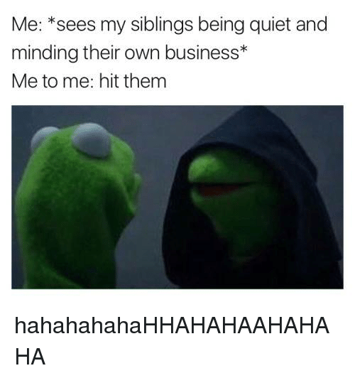 Memes, Quiet, and 🤖: Me: sees my siblings being quiet and  minding their own business  Me to me: hit them hahahahahaHHAHAHAAHAHAHA