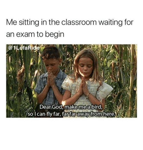 God, Classroom, and Waiting...: Me sitting in the classroom waiting for  an exam to begin  1LofaRide  Dear God, make mea bird  mea  so l can fly far, fartar away from here.NK