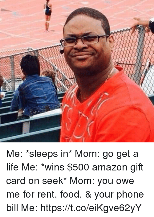 Amazon, Food, and Life: Me: *sleeps in*  Mom: go get a life  Me: *wins $500 amazon gift card on seek*  Mom: you owe me for rent, food, & your phone bill  Me: https://t.co/eiKgve62yY