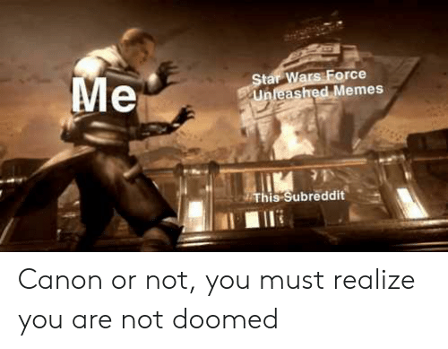 Memes, Star Wars, and Canon: Me  Star Wars Force  Unleashed Memes  This Subreddit Canon or not, you must realize you are not doomed