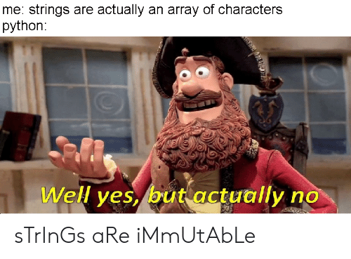 Me Strings Are Actually an Array of Characters Python Well Yesbut Actually No sTrInGs aRe iMmUtAbLe   Programmer Humor Meme on ME.ME  String Functions