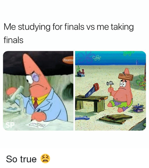 Finals, True, and For: Me studying for finals vs me taking  finals  SP So true 😫
