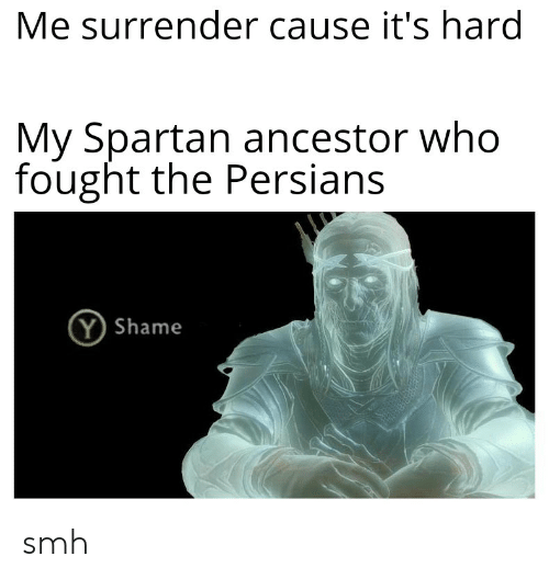 Smh, History, and Spartan: Me surrender cause it's hard  My Spartan ancestor who  fought the Persians  (Y Shame smh
