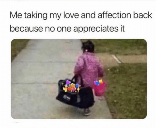 Me Taking My Love And Affection Back Because No One Appreciates It Love Meme On Me Me