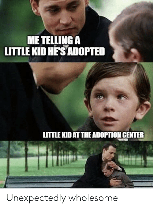 Wholesome, Kid, and Hes: ME TELLING A  LITTLE KID HE'S ADOPTED  LITTLE KID AT THE ADOPTION CENTER Unexpectedly wholesome