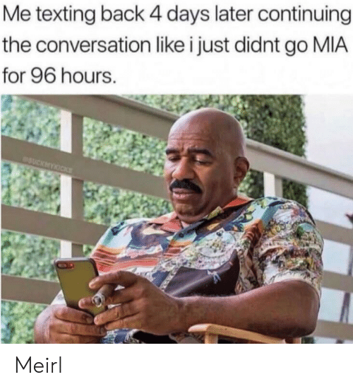 Texting, MeIRL, and Back: Me texting back 4 days later continuing  the conversation like i just didnt go MIA  for 96 hours. Meirl