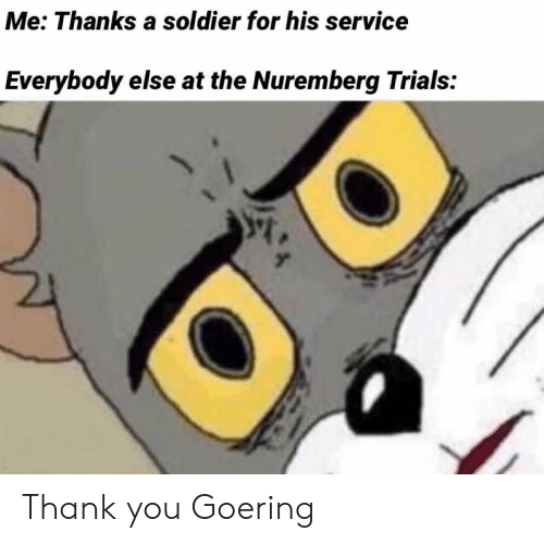 Thank You, Soldier, and Service: Me: Thanks a soldier for his service  Everybody else at the Nuremberg Trials: Thank you Goering