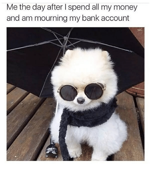 Memes, Money, and Bank: Me the day after I spend all my money  and am mourning my bank account