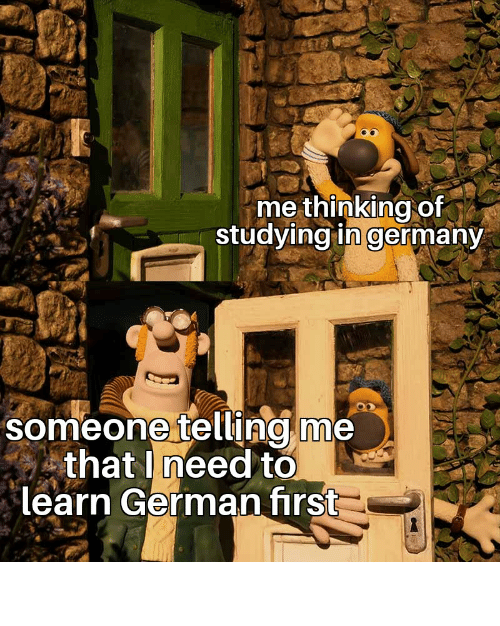 Reddit, Germany, and German: me thinking of  studying in germany  someone telling me  that need to  learn German first Oopsies doopsie