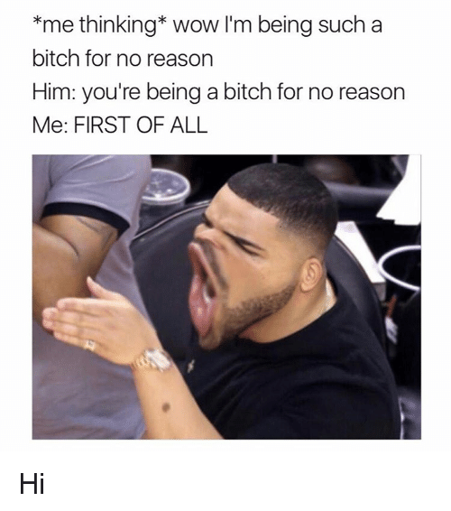 Bitch, Memes, and Wow: *me thinking Wow I'm being such a  bitch for no reason  Him: you're being a bitch for no reason  Me: FIRST OF ALL Hi
