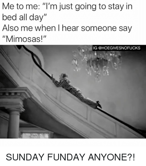 "Sunday Funday, Sunday, and Girl Memes: Me to me: ""I'm just going to stay in  bed all day""  Also me when I hear someone say  ""Mimosas!""  IG @HOEGIVESNOFUCKS SUNDAY FUNDAY ANYONE?!"