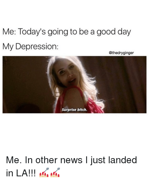 Me Todays Going To Be A Good Day My Depression Surprise Bitch Me In