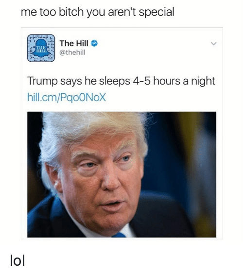 Memes, The Hills, and 🤖: me too bitch you aren't special  The Hill  @the hill  Trump says he sleeps 4-5 hours a night  hill.cm/PaoONoX lol