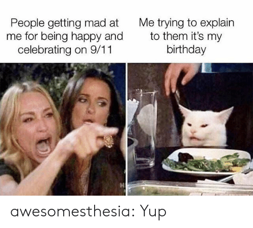 9/11, Birthday, and Tumblr: Me trying to explain  to them it's my  birthday  People getting mad at  me for being happy and  celebrating on 9/11 awesomesthesia:  Yup