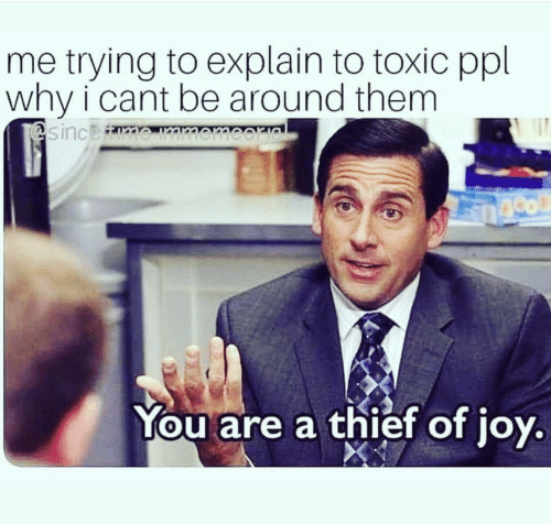 Thief, Ppl, and Why: me trying to explain to toxic ppl  why i cant be around them  You are a thief of ioy  0