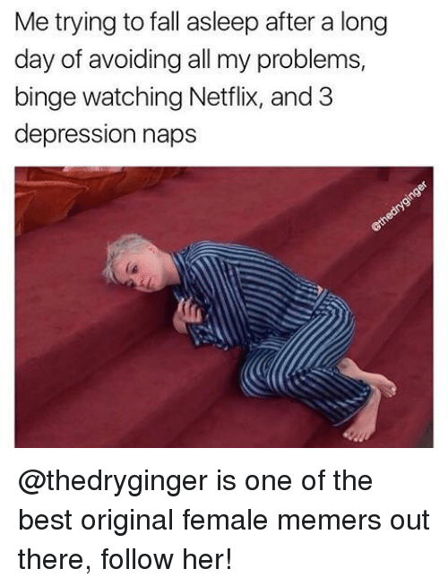 Fall, Memes, and Netflix: Me trying to fall asleep after a long  day of avoiding all my problems,  binge watching Netflix, and 3  depression naps @thedryginger is one of the best original female memers out there, follow her!