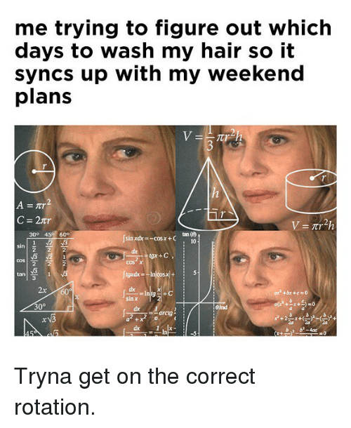 Bad, Memes, and Hair: me trying to figure out which  days to wash my hair so it  syncs up with my weekend  plans  3  C=2tr  300 45 60°  Jsai  sin xdx -cosx +C  10  cos χ  tan  2x60  dx  30°  Bad  a +  b b-4ac Tryna get on the correct rotation.