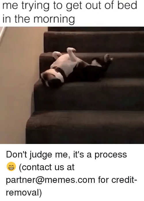 Memes, 🤖, and Com: me trying to get out of bed  in the morning Don't judge me, it's a process 😁 (contact us at partner@memes.com for credit-removal)