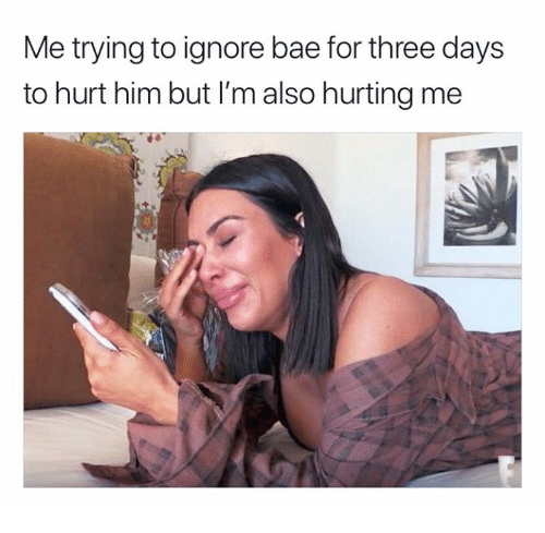 Bae, Him, and Three: Me trying to ignore bae for three days  to hurt him but I'm also hurting me