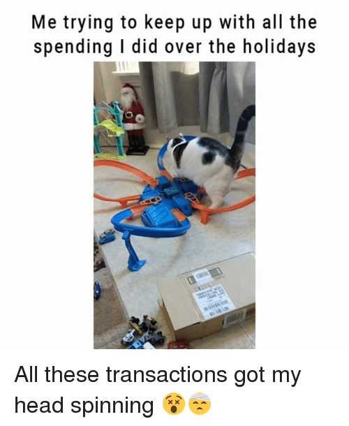 Head, Memes, and All The: Me trying to keep up with all the  spending I did over the holidays All these transactions got my head spinning 😵🤕