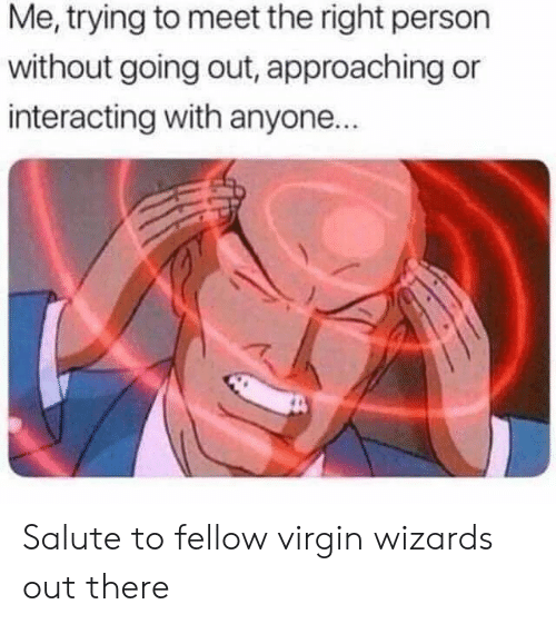 Virgin, Wizards, and Person: Me, trying to meet the right person  without going out, approaching or  interacting with anyone.. Salute to fellow virgin wizards out there