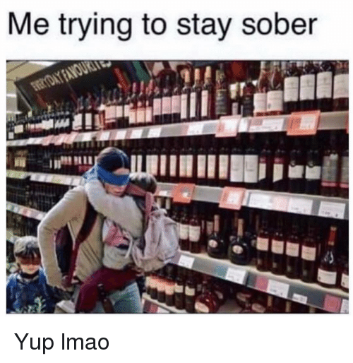 Funny, Lmao, and Sober: Me trying to stay sober Yup lmao
