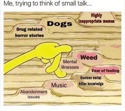 Dogs, Memes, and Music: Me, trying to think of small talk..  Highly  cInapproprlate memes  DOgS  Drug related  horror stories  그,weed  Mental  illnesses  '  Fear of feeling  Useless serial  killer knowledge  Music  Abandonment  issues