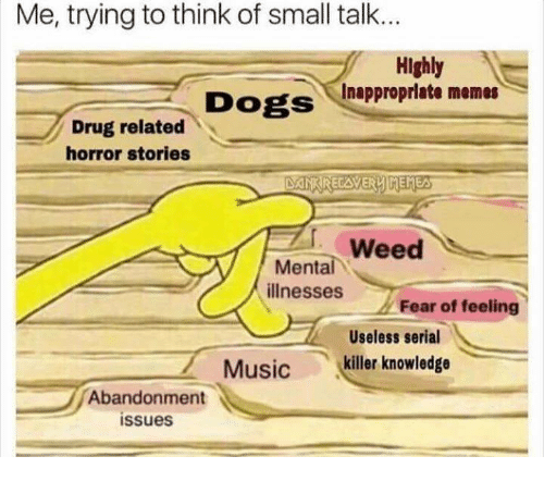 Dogs, Memes, and Music: Me, trying to think of small talk..  Highly  Dogs Inapproprlate memes  Drug related  horror stories  Mental  illnesses  Fear of feeling  Useless serial  Music  killer knowledge  Abandonment  issues