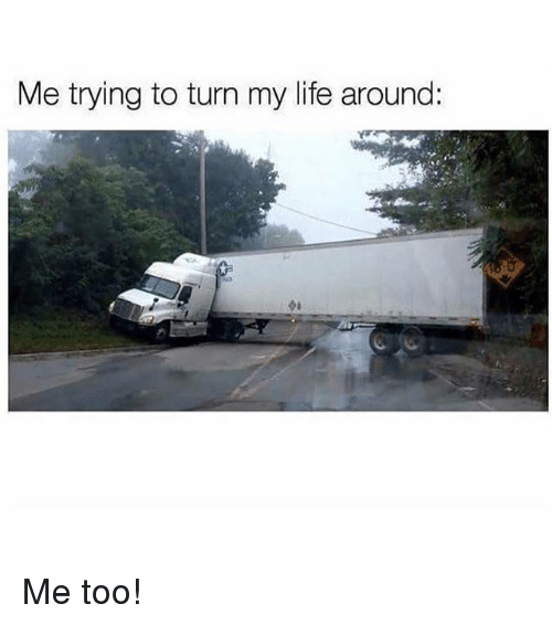 Life, Memes, and 🤖: Me trying to turn my life around: Me too!
