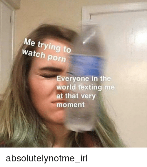 Texting, Porn, and Watch: Me trying to  watch porn  Everyone in the  world texting me  t that very  moment