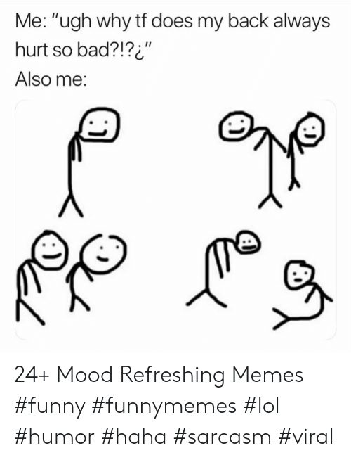 "Bad, Funny, and Lol: Me: ""ugh why tf does my back always  hurt so bad?!?i""  II  Also me: 24+ Mood Refreshing Memes #funny #funnymemes #lol #humor #haha #sarcasm #viral"