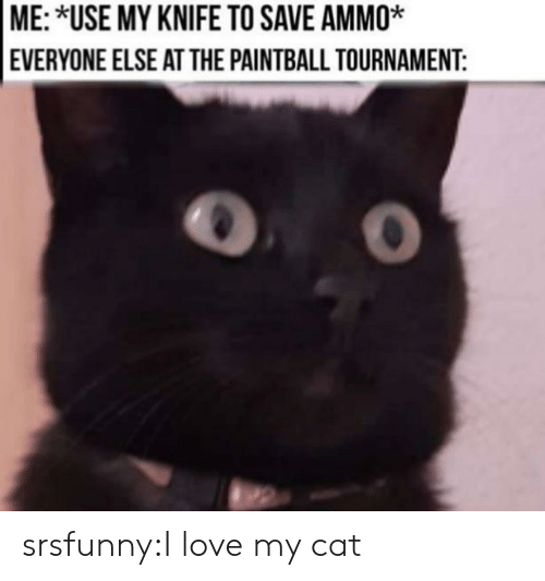 Love, Tumblr, and Blog: ME: *USE MY KNIFE TO SAVE AMMO*  EVERYONE ELSE ATTHE PAINTBALL TOURNAMENT: srsfunny:I love my cat