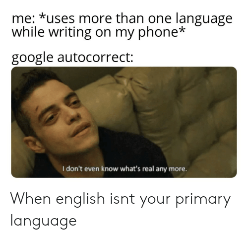 Autocorrect, Google, and Phone: me: *uses more than one language  while writing on my phone*  google autocorrect:  I don't even know what's real any more. When english isnt your primary language