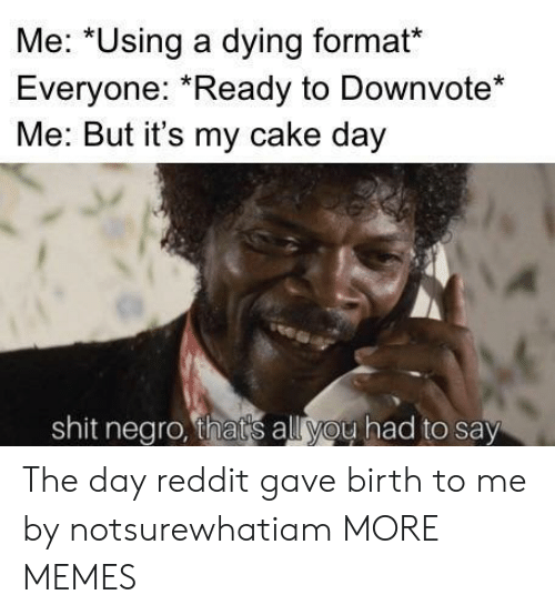 Dank, Memes, and Reddit: Me: *Using a dying format*  Everyone: Ready to Downvote*  Me: But it's my cake day  shit negro, thats all you had to say The day reddit gave birth to me by notsurewhatiam MORE MEMES