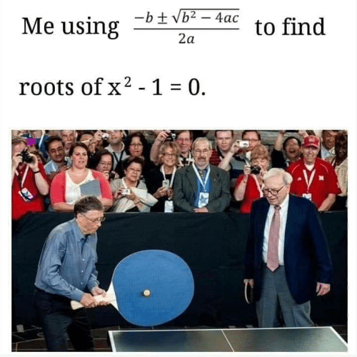 Roots, Find, and 1 0: Me using2  -b+ Vb2-4ac to find  roots of x2-1  0.