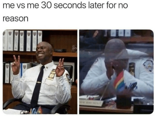 Reason, For, and  No: me vs me 30 seconds later for no  reason