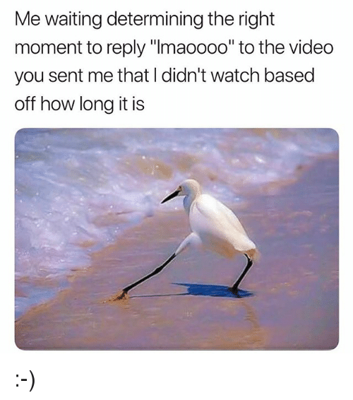"""Memes, Video, and Watch: Me waiting determining the right  moment to reply """"Imaoooo"""" to the video  you sent me that I didn't watch based  off how long it is :-)"""