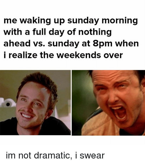 Memes, Sunday, and 🤖: me waking up sunday morning  with a full day of nothing  ahead VS. sunday at 8pm when  i realize the weekends over im not dramatic, i swear