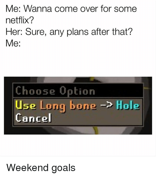 Come Over, Goals, and Memes: Me: Wanna come over for some  netflix?  Her: Sure, any plans after that?  Me:  Choose Option  Use Long bone Ole  Cancel Weekend goals