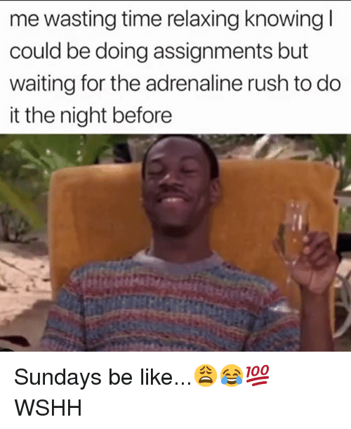 Be Like, Memes, and Wshh: me wasting time relaxing knowing l  could be doing assignments but  waiting for the adrenaline rush to do  it the night before Sundays be like...😩😂💯 WSHH