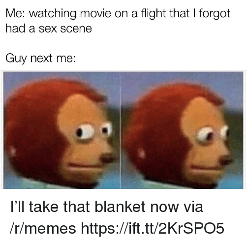 Memes, Sex, and Flight: Me: watching movie on a flight that I forgot  had a Sex SCene  Guy next me: I'll take that blanket now via /r/memes https://ift.tt/2KrSPO5