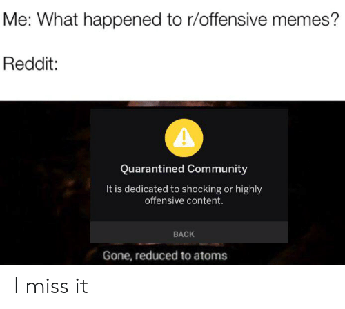 Me What Happened to Roffensive Memes? Reddit Quarantined