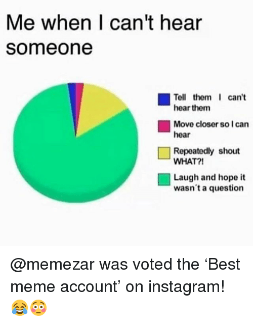 Instagram, Meme, and Memes: Me when I can't hear  Someone  can't  Tell them  hear them  Move closer so I can  hear  11 Repeatedly shout  WHAT?!  Laugh and hope it  wasn't a question @memezar was voted the 'Best meme account' on instagram! 😂😳