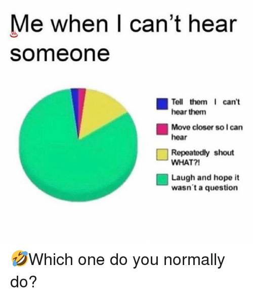 Memes, Hope, and 🤖: Me when I can't hear  someone  Tell them I can't  hear them  Move closer so I can  hear  Repeatedly shout  WHAT?!  Laugh and hope it  wasn't a question 🤣Which one do you normally do?