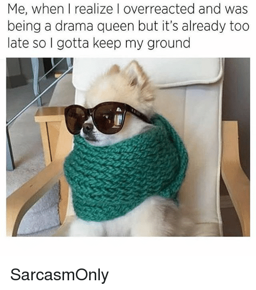Funny, Memes, and Queen: Me, when I realize I overreacted and was  being a drama queen but it's already too  late so I gotta keep my ground SarcasmOnly