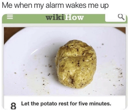 Alarm, Potato, and How: Me when my alarm wakes me up  wikiE  How  8  Let the potato rest for five minutes.