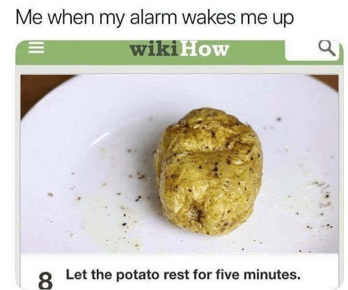 Alarm, Potato, and Rest: Me when my alarm wakes me up  wikiH  FoW  8  Let the potato rest for five minutes.