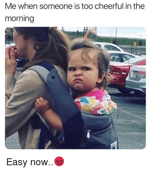 Hood, Easy, and Now: Me when someone is too cheerful in the  morning Easy now..😡