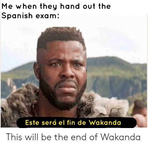 Spanish, Dank Memes, and Will: Me when they hand out the  Spanish exam:  Este será el fin de Wakanda This will be the end of Wakanda